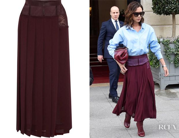 20fc802e2 Victoria Beckham's Victoria Beckham Paneled Pleated Skirt - Red ...