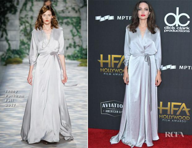 Angelina Jolie In Jenny Packham 2017 Hollywood Film Awards
