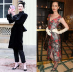 Erin O'Connor celebrates receiving her MBE in Giles & Erdem
