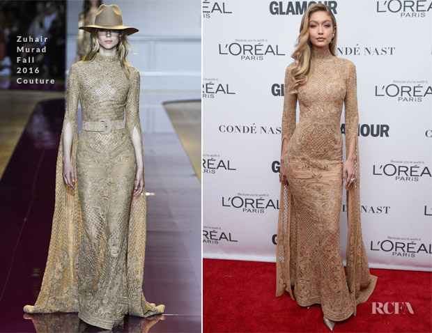 0edf25df11dc Gigi Hadid In Zuhair Murad Couture – 2017 Glamour Women Of The Year Awards