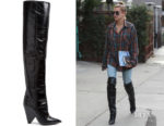 Hailey Baldwin's Saint Laurent Niki Slouch Leather Boots
