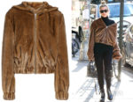 Hailey Baldwin's Helmut Lang Faux Fur Hooded Bomber Jacket