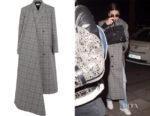 Kendall Jenner's Balenciaga Prince of Wales Checked Wool Coat