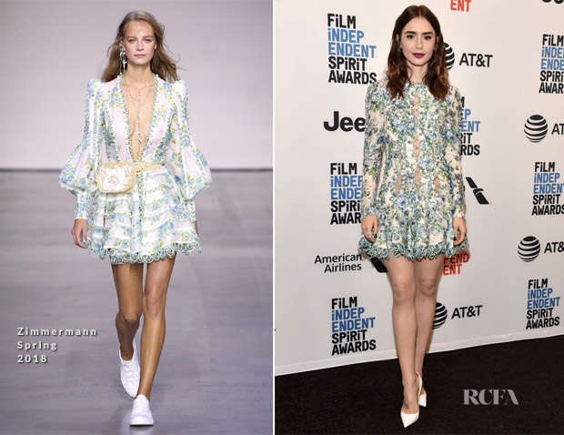 Lily Collins In Zimmermann  - Film Independent 2018 Spirit Awards Press Conference