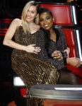 Miley Cyrus In Vintage Bob Mackie & Jennifer Hudson In Jovani - The Voice