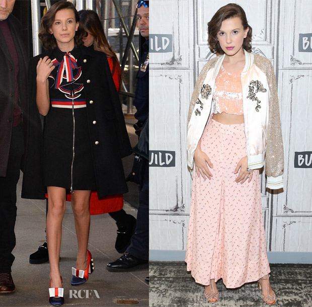 6459051d69e There was nothing scary about Millie Bobby Brown s style as she served up  three looks while promoting  Stranger Things 2  in New York City on  Halloween ...