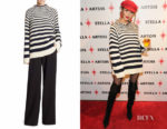 Olivia Culpo's Alberta Ferretti Striped Wool Sweater