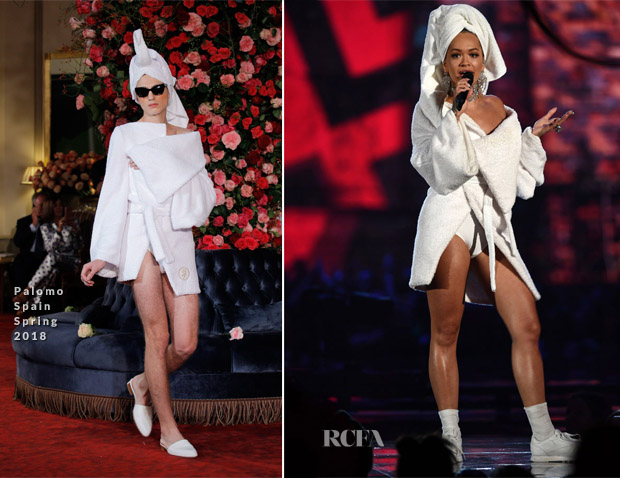 9e263f9fe5036 Hosting: While hosting Rita wore a second Palomo Spain Spring 2018  bathrobe. This time it was a shorter version, sans the necklace and  embellished pumps.