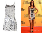 Rochelle Humes' Topshop Disco Sequin Embellished Slip Dress