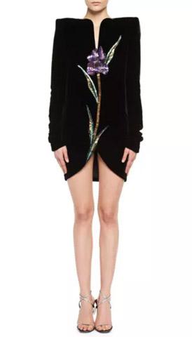 Saint Lau Velvet Iris Strong Shoulder Dress