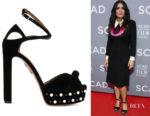 Salma Hayek's Aquazzura Harlow Platform Sandals