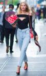 Elsa Hosk's Jean Atelier Flip Straight Jeans in Sky