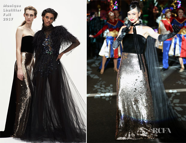 Sofia Carson In Monique Lhuillier - 2017 Saks Fifth Avenue & Disney 'Once Upon A Holiday'