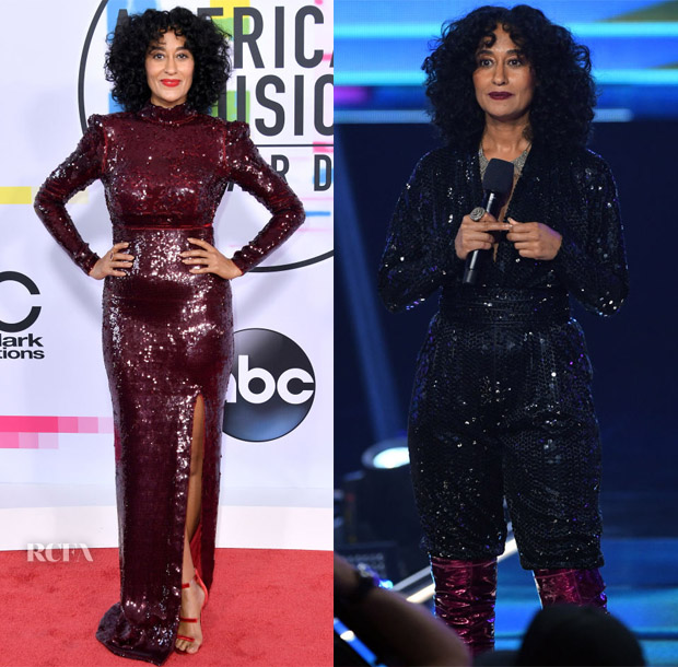 Tracee Ellis Ross hosts the 2017 AMAs in Stella McCartney, Vintage Halston, Christian Siriano, Ronald van der Kemp Couture, Balmain, Giambattista Valli Couture, Paco Rabanne & Roberto Cavalli