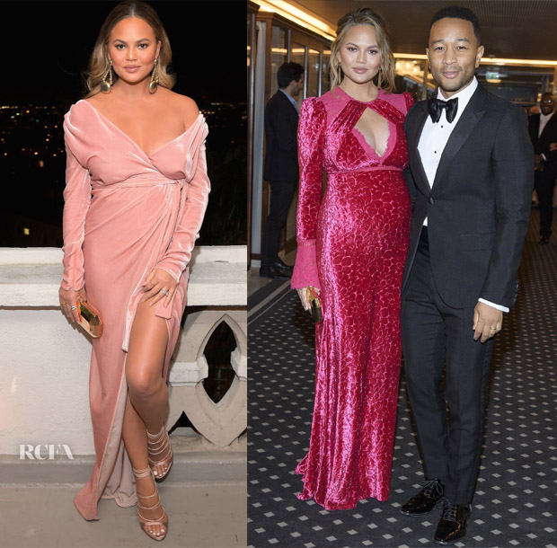 Chrissy Teigen In Rhea Costa & Tadashi Shoji - GQ Party & Nobel Peace Prize Banquet