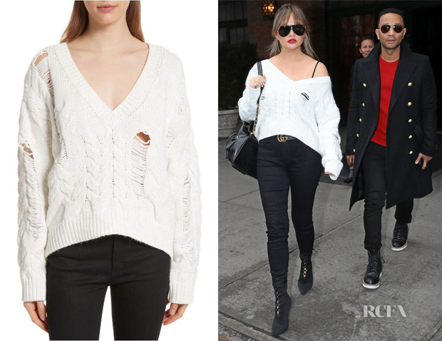 Chrissy Teigen's IRO Fighla Distressed Sweater