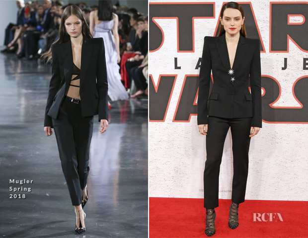 Daisy Ridley In Mugler - 'Star Wars: The Last Jedi' London Photocall