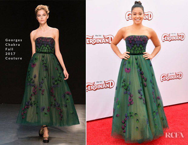 Gina Rodriguez In Georges Chakra Couture - 'Ferdinand' LA Screening