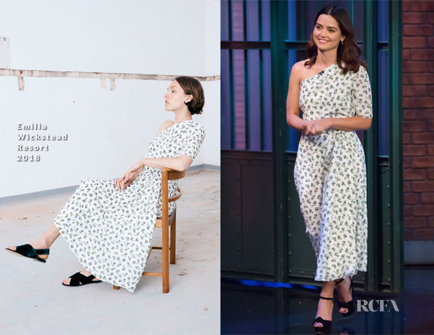 Jenna Coleman In Emilia Wickstead - Late Night with Seth Meyers