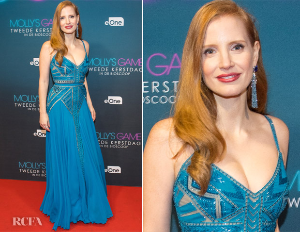 Jessica Chastain In Elie Saab - 'Molly's Game' Amsterdam Premiere