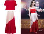 Lily Collins' Reem Acra Ruffled Bustier & Skirt