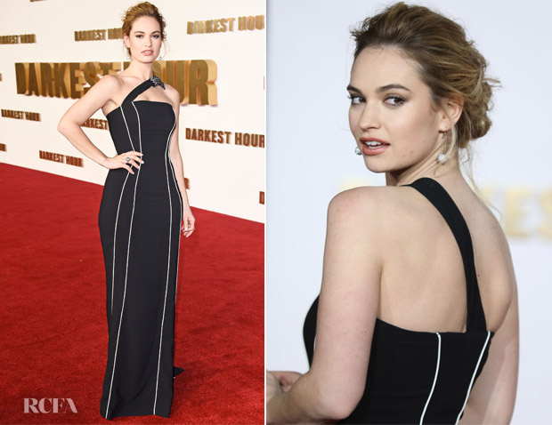 Lily James In Burberry - 'Darkest Hour' London Premiere