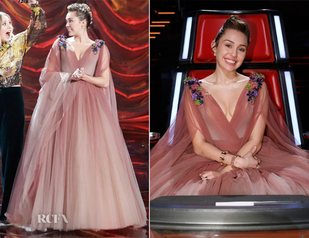 770626528e Miley Cyrus In Nicolas Jebran Couture - The Voice Finale - Red ...