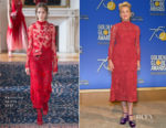 Sharon Stone In Valentino - 75th Annual Golden Globe Nominations Announcement