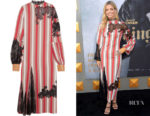 Annabelle Wallis' Loewe Lace and Leather-Trimmed Striped Dress