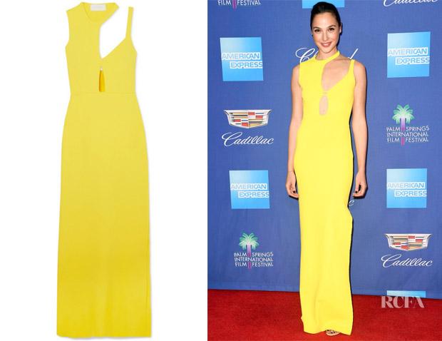 Gal Gadot's Esteban Cortazar  Yellow Cutout Gown