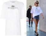 Hailey Baldwin's Balenciaga BB Oversized T-Shirt