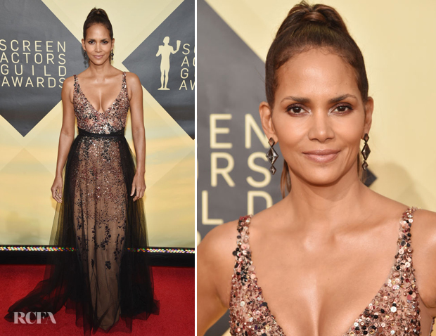 Halle Berry In Pamella Roland - 2018 SAG Awards