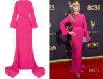 Jane Fonda's Brandon Maxwell Pink Open Back Gown