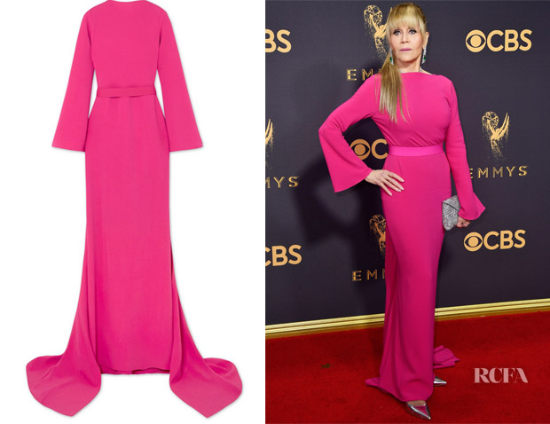 Jane Fonda's Brandon Maxwell Pink Open Back Gown