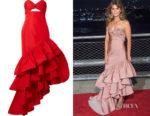 Keri Russell's Johanna Ortiz Spicy Margarita Ruffled Gown