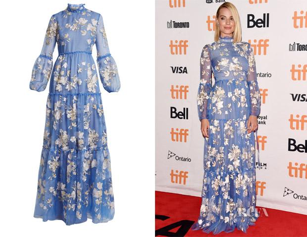 f94dfdd2971 Margot Robbie's Erdem Cassandra Floral-Embroidered Gown - Red Carpet ...