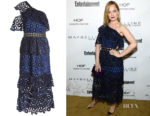 Mena Survari's Self-Portrait Asymmetric Floral Lace Dress