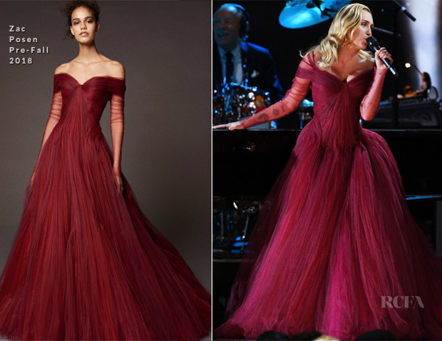 031ad4508c6 Miley Cyrus In Zac Posen - 2018 Grammy Awards Performance - Red ...