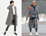 Naomi Watts' Madewell Plaid Goodwin Oversized Topcoat