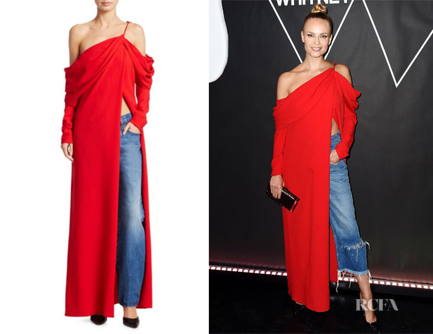 Natasha Poly's Monse Cowl-Sleeve Silk Gown