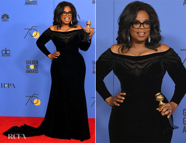 Oprah Winfrey In Atelier Versace - 2018 Golden Globe Awards - Red Carpet Fashion Awards