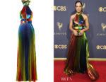 Tessa Thompson's Rosie Assoulin Pleated Lamé Halterneck Gown