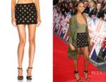 Alesha Dixon's Balmain Black Embellished Denim Mini Skirt