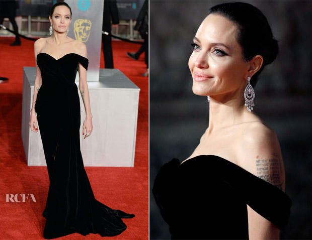 Angelina Jolie Served Up No Surprised In Her Favourite Colour Black For The 2018 Baftas London This Evening February 18