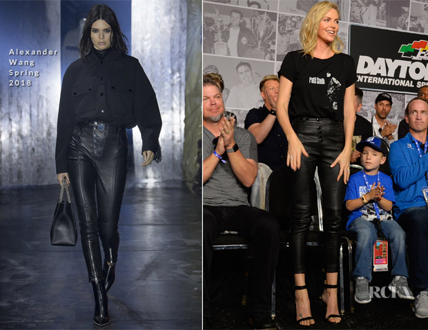 Charlize Theron In Saint Laurent & Alexander Wang - NASCAR Cup Series 60th Annual Daytona 500