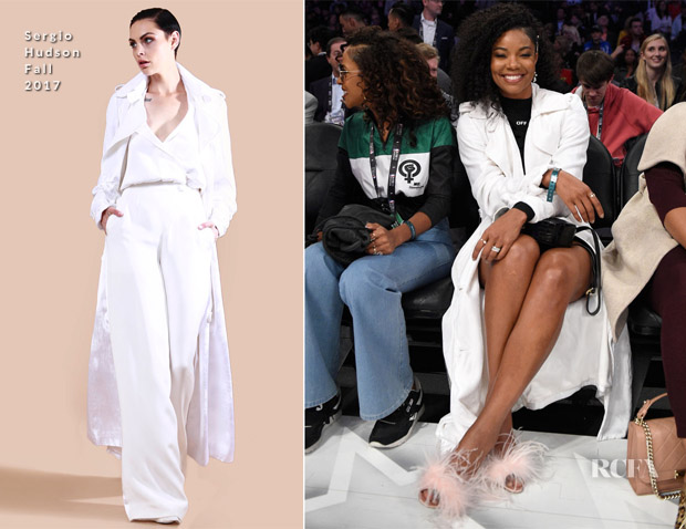 Gabrielle Union In Off-White & Sergio Hudson - NBA All-Star Game
