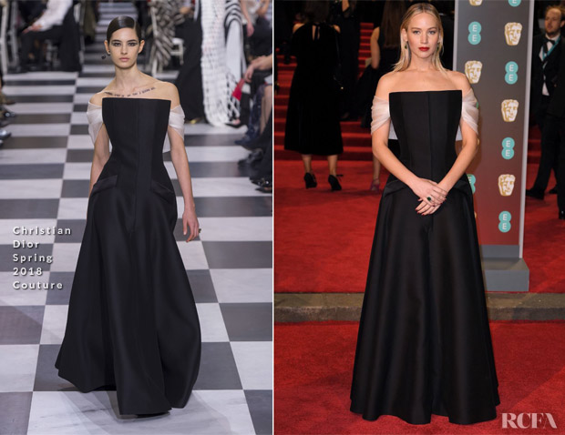 Baftas: Jennifer Lawrence In Christian Dior Couture