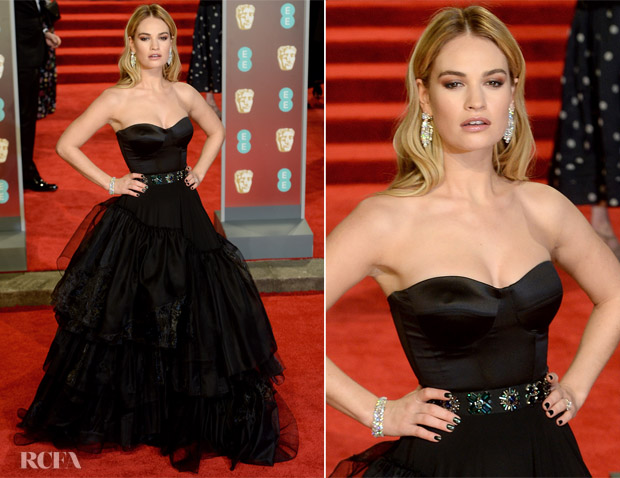 Lily James In Burberry - 2018 BAFTAs