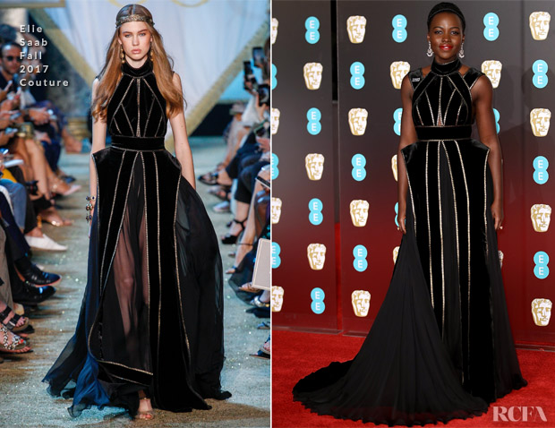 c4a05ef386 Lupita Nyong'o In Elie Saab Couture - 2018 BAFTAs - Red Carpet ...