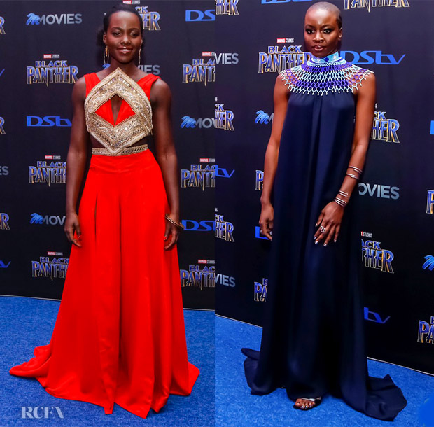 Lupita Nyong'o In Kevin Mayes & Danai Gurira In The Row - 'Black Panther' Johannesburg Premiere
